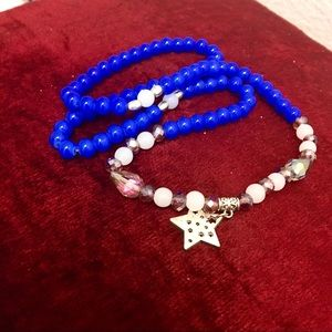 Blue Beads,Crystals ⭐️ Star Charm Bracelet 😍🥰